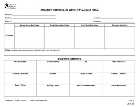emergent curriculum preschool lesson plan template
