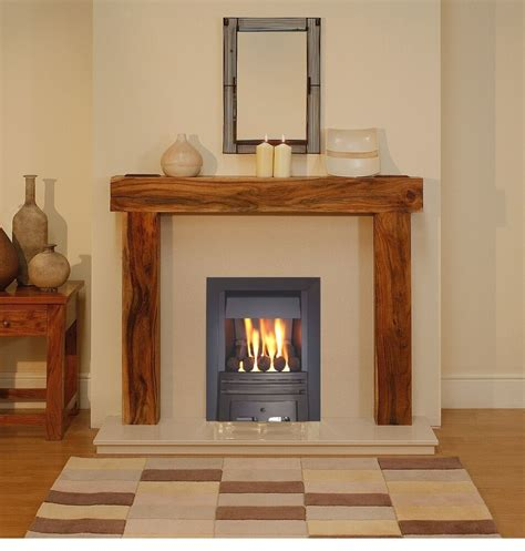 real wood fireplace gas solid wood acacia mango fireplace black gas surround suite marble ebay