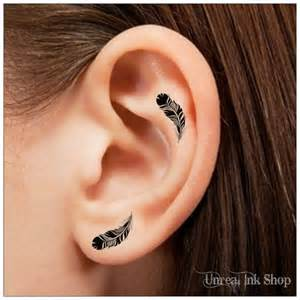 oreille plume tatouage temporaire 6 tatouages tatouages doigt