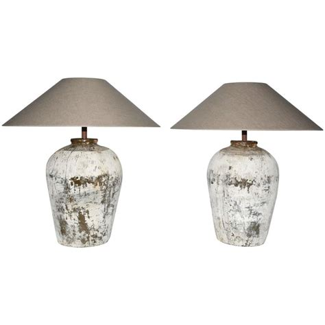 Large L Shades For Sale by Large Rustic Jar Ls With Shades Pair For Sale