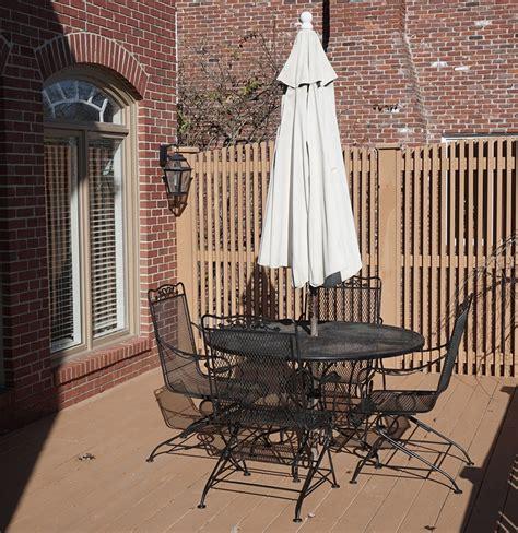 patio table chairs umbrella set wrought iron patio table chairs and umbrella set ebth
