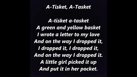 lyrics ella fitzgerald a tisket a tasket words lyrics best top popular favorite