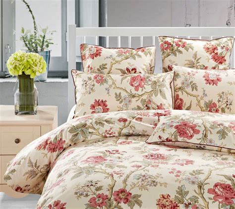red flower comforter 4 pcs chic red flower floral queen king size bedding duvet