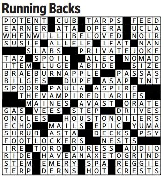 small round boat crossword running backs saturday crossword wsj puzzles wsj