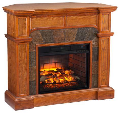 joliet corner faux infrared fireplace mission oak