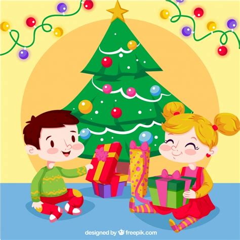 Background of happy children opening christmas presents ... Happy Kids Opening Christmas Presents