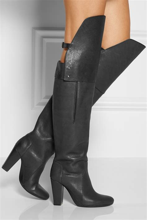 thigh high boots vintage black brand vogue chunky heel thigh high boots