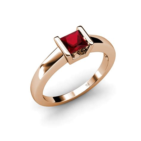 lab created ruby princess cut solitaire ring 0 90 ct in
