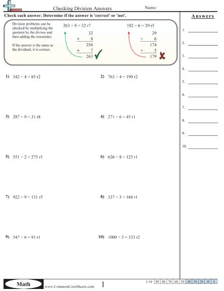 Common Division Worksheets by Division Homework Sheets
