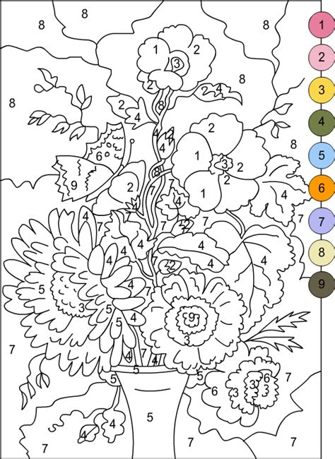 coloring pages with numbers for adults free printable color by number coloring pages best