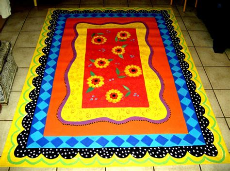 painted canvas rug items similar to floorcloth painted canvas rug 5 x7 whimsical on etsy