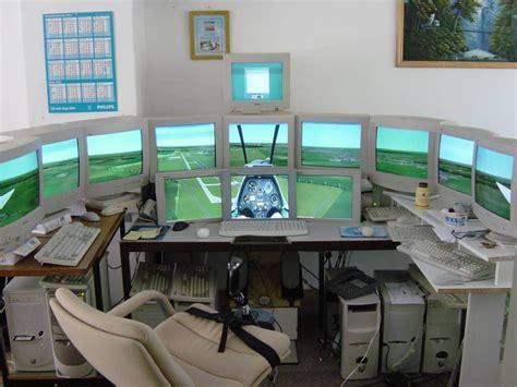 gaming setup simulator setting up monitors for flight sim games