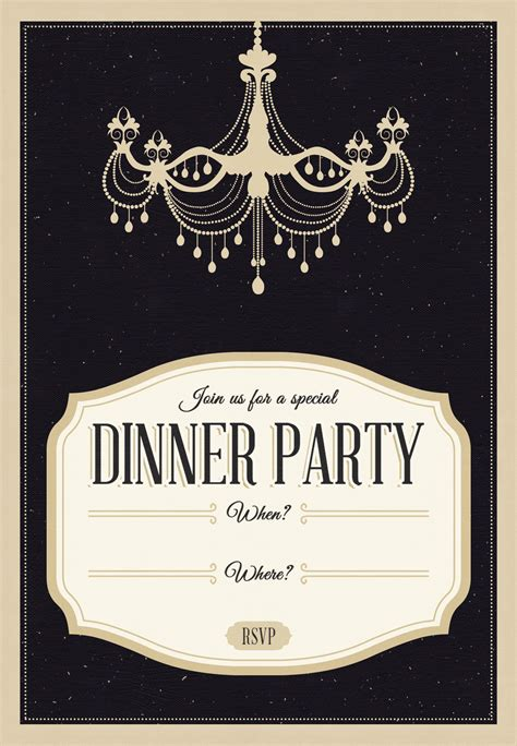 dinner invite template chandelier free printable dinner invitation
