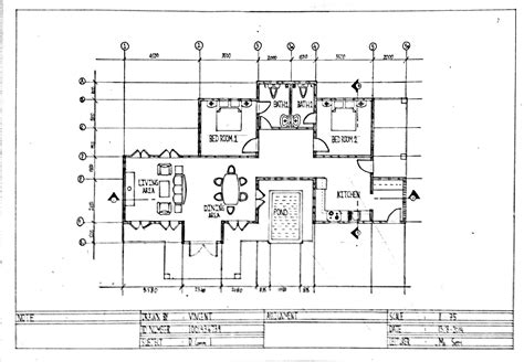 drawing a house plan one point perspective interior drawing hand living room
