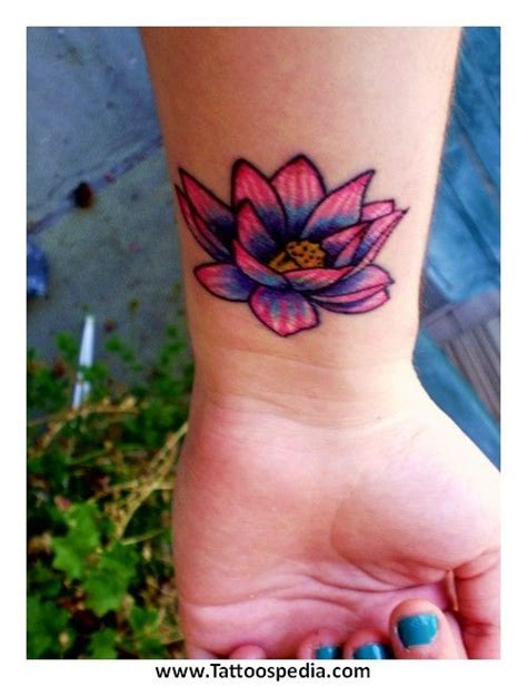 color flower tattoos colored flower tattoos lotus flower lower