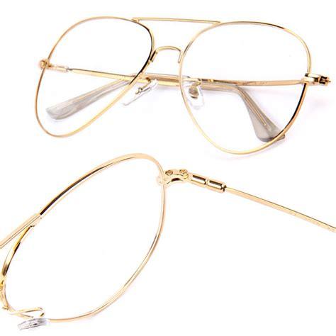 Metal Aviator Glasses retro vintage style metal aviator clear lens glasses www