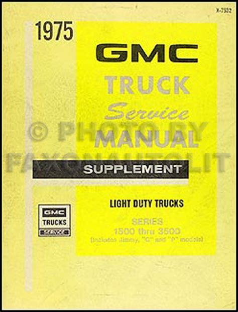 car repair manual download 1994 gmc vandura 3500 instrument cluster 1975 gmc 1500 3500 truck repair shop manual supp pickup jimmy suburban van fc