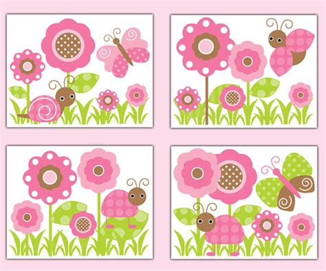 butterfly garden wall butterfly ladybug garden wall prints baby pink