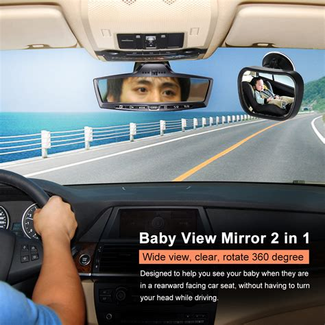 baby rear view mirror with light mini car back seat baby view mirror 2 in 1 baby rear