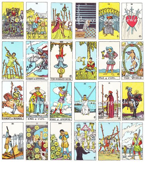 karten de set of 78 rider waite tarot cards digital collage sheet