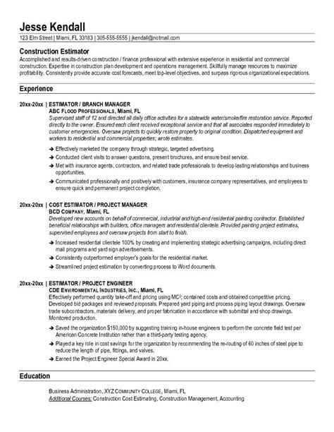 Roofing Estimator Sle Resume by Free Construction Estimator Resume Exle