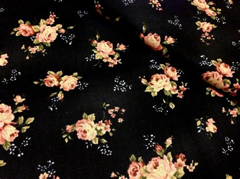 Paisley Home Decor by Final Half Yard Black Floral Cotton Fabric Pink Rose On