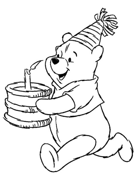 free coloring pages of winnie the pooh birthday