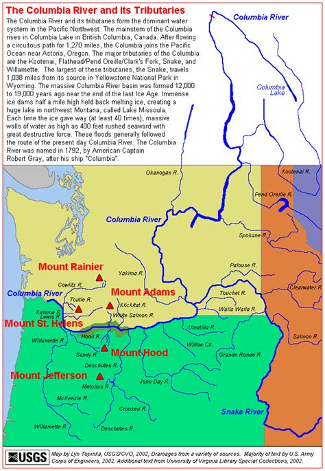columbia river map the volcanoes of lewis and clark the columbia river and tributaries map