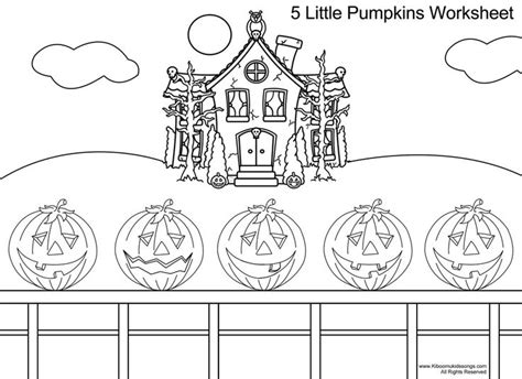 12 Best Images Of Worksheets Five Little Pumpkins Five 5 Pumpkins Coloring Page