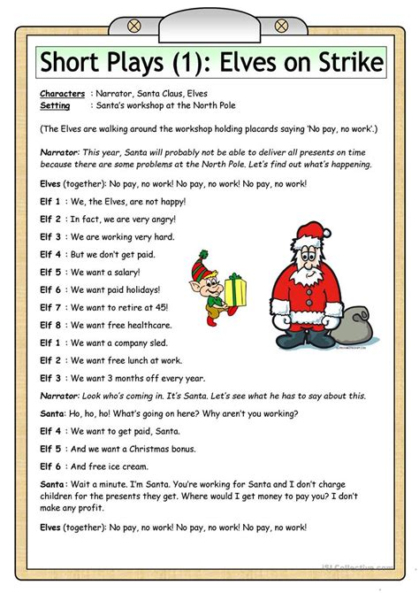 esl plays for teachers 40 great plays for esl classes books plays 1 elves on strike worksheet free esl