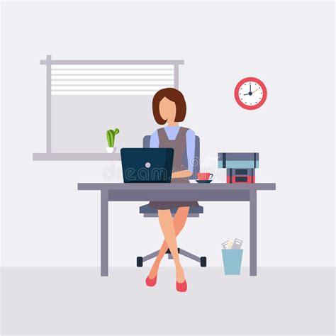 r馭rig駻ateur de bureau femme travaillant dans le bureau illustration de vecteur