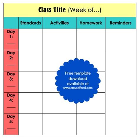 5 day lesson plan template new calendar template site