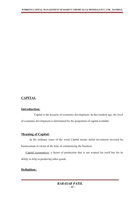 Project Management Project Report For Mba by Project Report Working Capital Management Mba Project On
