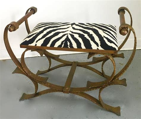 wrought iron bench with cushion gilt wrought iron bench stool with zebra print cushion for