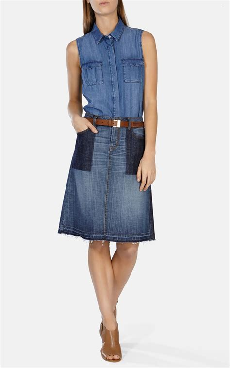 Denim Patchwork Skirt - millen patchwork denim a line skirt in blue lyst