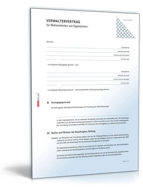 Vorlage R Cksendung Rechnung Weg Verwaltervertrag Rechtssicheres Muster Zum