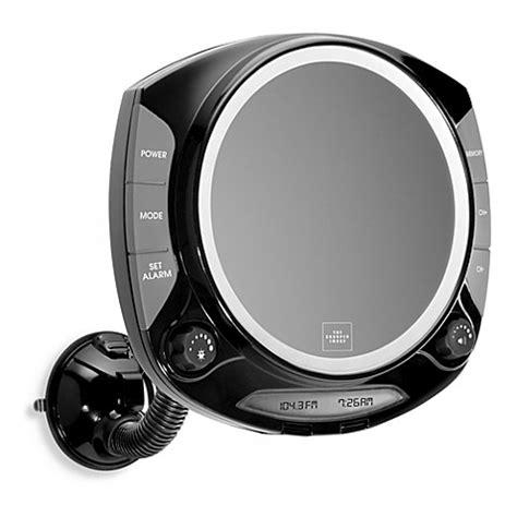 radio bathroom mirror the sharper image 174 fog free shower mirror with radio bed