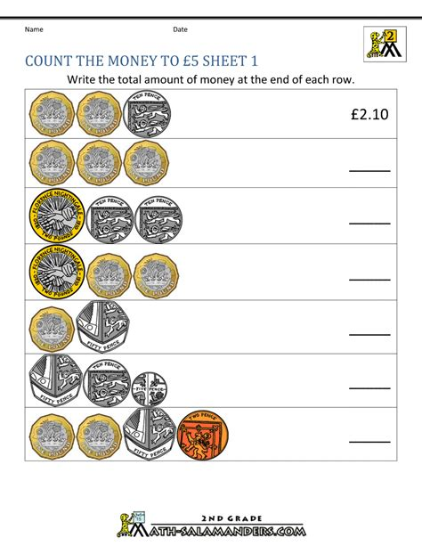 decimal notation money worksheets counting money