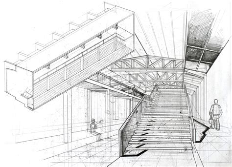Interior Perspective Drawing by Interior Perspective Arch Student