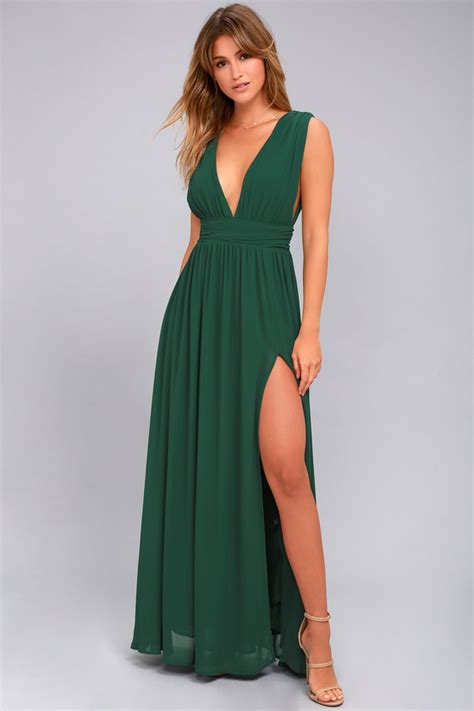 Greeny Maxi Dress forest green gown maxi dress sleeveless maxi dress