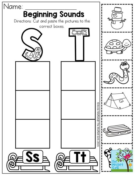 free printable worksheets beginning sounds beginning sounds cut and paste the pictures to the