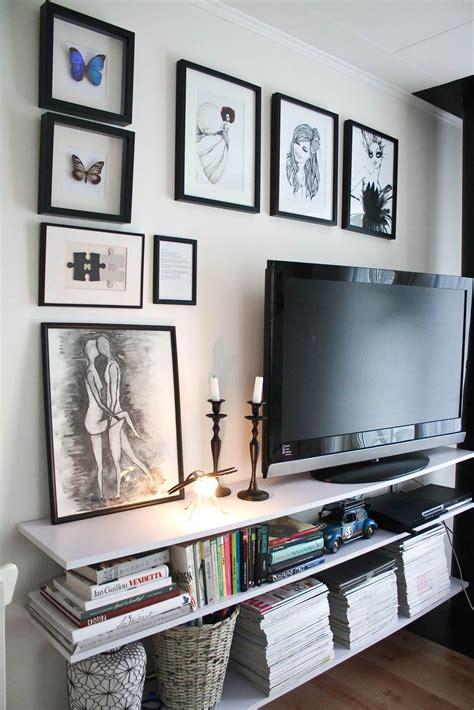 tv gallery wall clean shelves realistic bookshelf