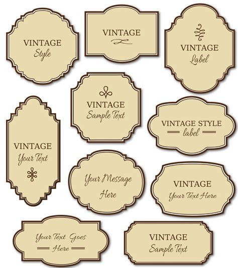 free printable vintage label templates vintage labels clip art pack digital frames par