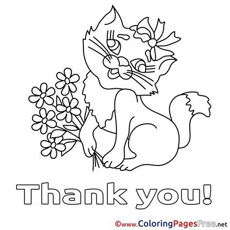 printable coloring pages thank you cat flowers thank you coloring pages free