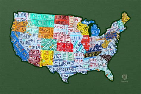 design art usa car tag number plate art usa on green mixed media by