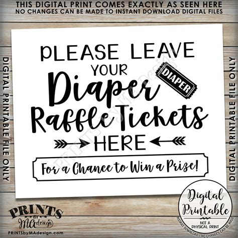 buy printable raffle tickets diaper raffle ticket sign leave your raffle ticket here
