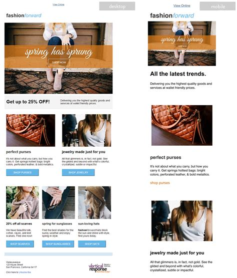 vertical response templates retail newsletter templates mobile friendly and responsive