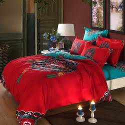 Egyptian Cotton Duvet Set Red Turquoise Oriental Chinese Traditional Pattern Bedding