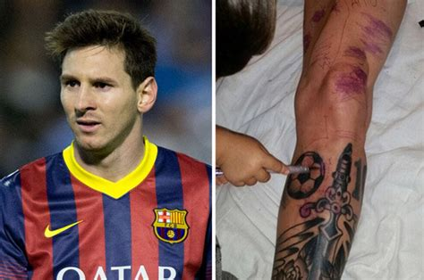 lionel messi tattoo barcelona star ruins worlds  expensive leg  awful tattoo daily star