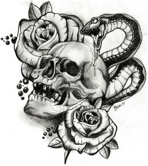 black rose and skull tattoo skull snake roses tattoos